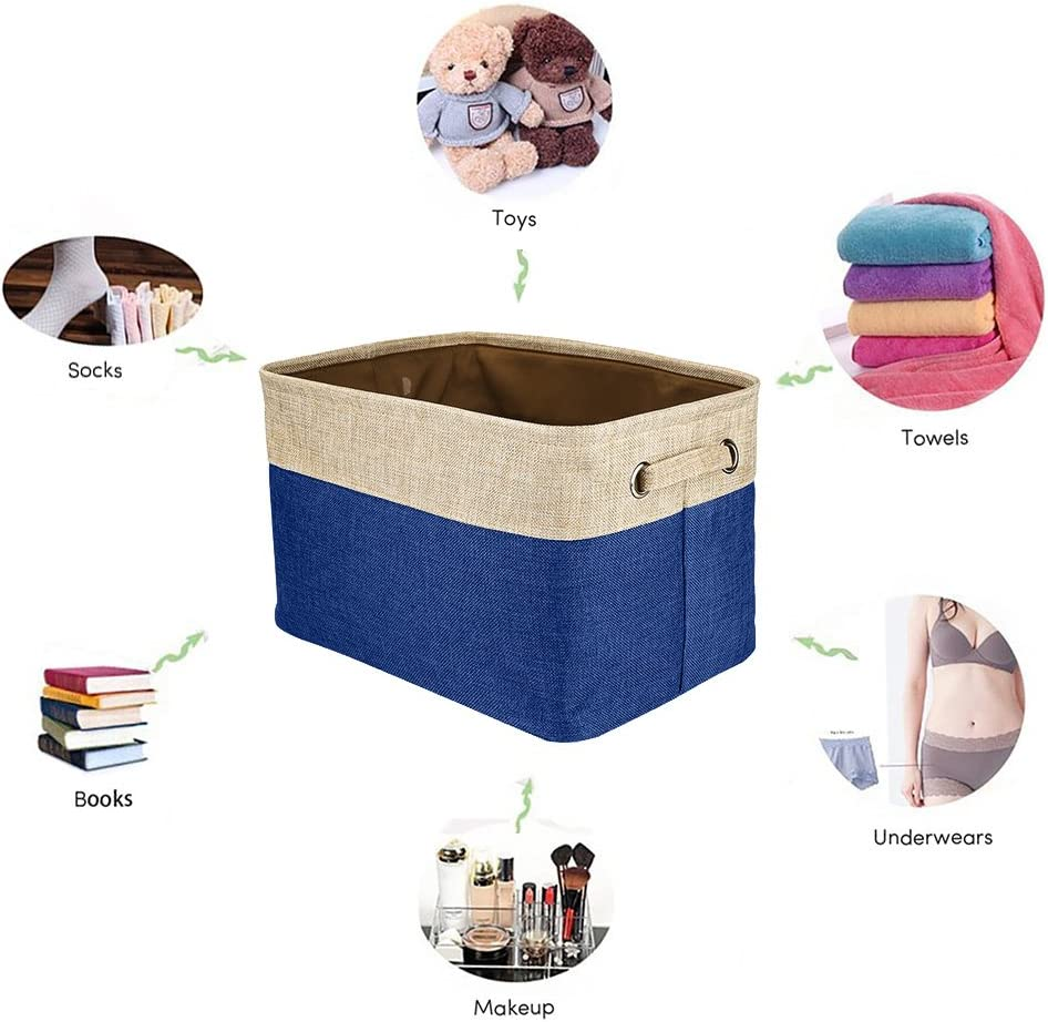 Bedroom Office Toy Clothes Closet 6PCS, Dark Blue Walsilk Storage Bin Baskets,Foldable Canvas Fabric Tweed Storage Cube Basket Bin Organizer Set,for Nursery