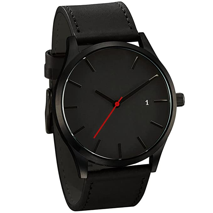 Amazon.com: Popular Low-Key Minimalist Connotation Leather Mens Quartz Wristwatch (A): Watches