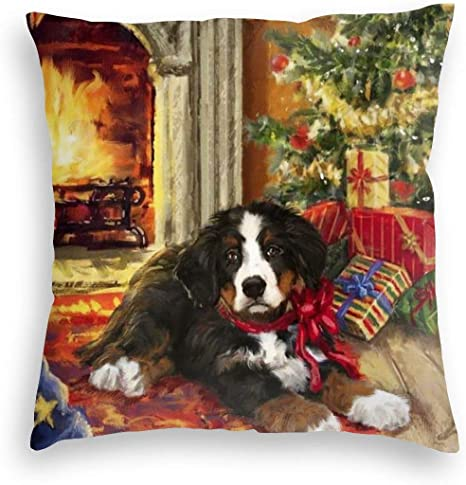 Durian Family Christmas Bernese Mountain Dogs Gift Tree Velvet Soft Square Throw Pillow Covers Home Decor Decorations Cushion Case For Indoor Sofa Bedroom Car 18 X 18 Inch Home Kitchen