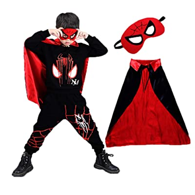 Halloween Superhero Cosplay Costumes Spiderman Costume Boys Kids Outfit Hoodies with Capes Mask: Clothing
