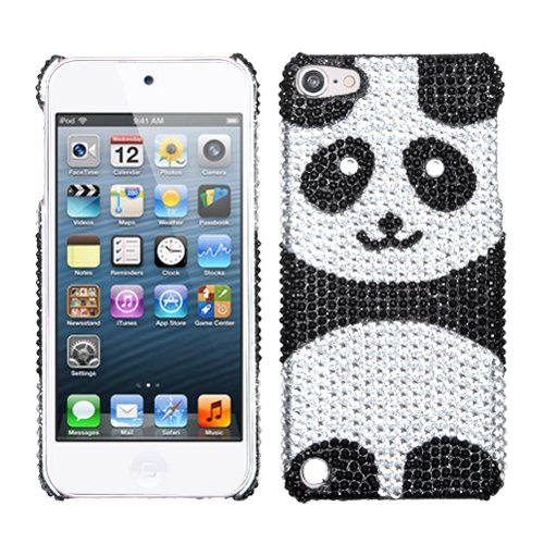 Silver Black Panda Bear Bling Rhinestone Crystal Case Cover Diamond For Apple iPod Touch iTouch 5 with Free Pouch