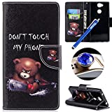 ETSUE Leather Case for Sony Xperia XA2,Wallet Case for Sony Xperia XA2,Colorful Painting Pu Leather Magnetic Book Style Wallet Flip Protective Case with Stand Card Holder for Sony Xperia XA2+Blue Stylus Pen+Bling Glitter Diamond Dust Plug(Colors Random)-Cute Bea