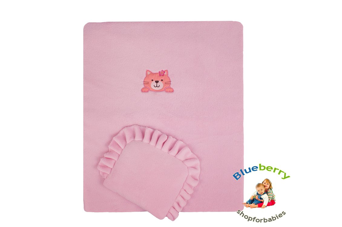 BlueberryShop Embroidered Fleece Quilt and Pillow Set for Pram/Crib/Moses, Pink, 2-Piece Blueberry Shop for Babies 40020005