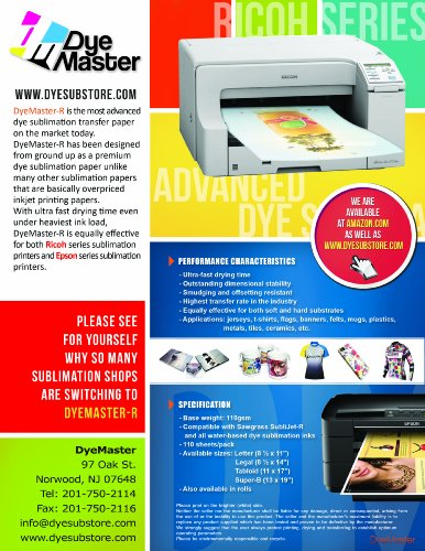 DyeMaster Sublimation Paper, 8 5 x 11