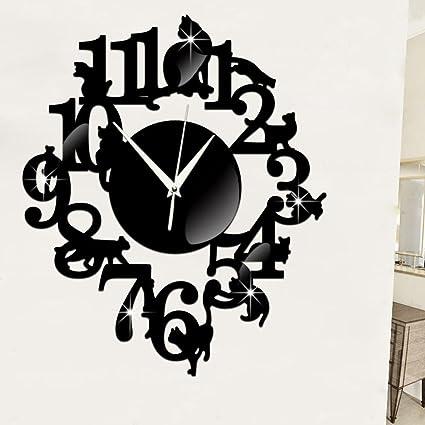 Reloj de pared, goodculler Digital clásico único gato espejo negro reloj de pared diseño moderno