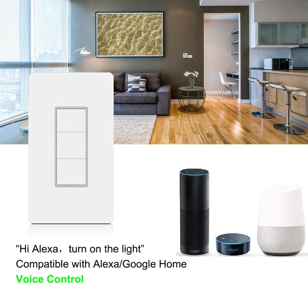3 switches WiFi Smart Switch Button Smart Light Switch Compatible with Alexa and Google Home No Hub Required,Smart Life APP Provides Control from Anywhere Remote Control with Timing Funtion