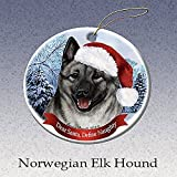 Holiday Pet Gifts Norwegian Elkhound Santa Hat Dog Porcelain Christmas Tree Ornament