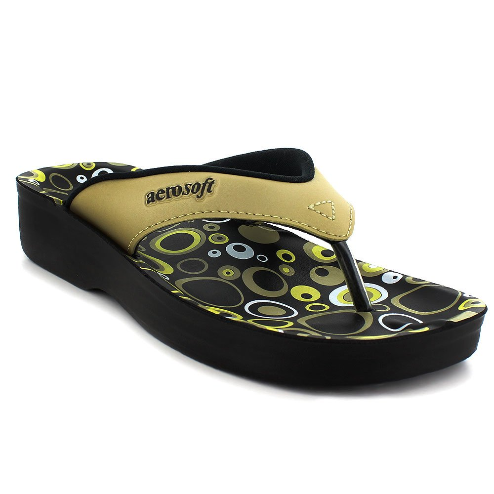 Aerosoft Original Womens' Thong Style Sandals with Printed Footbed | Comfortable Arch Supportive Walking Sandals (US Women 8, Bubbles Gold)