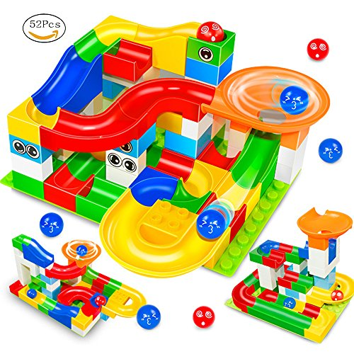 Marble Run Building Blocks Construction Toys Set Puzzle Race Track STEM Learning for Kids (52 Pcs) (Track Construction Toy)