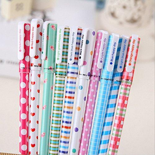 10pcs/set 0.5mm Cute Kawaii Flowers Animals Stripe Korean Multicolour Ink Gel Pens For Writing School Supplies by Office & School Supplies YingYing (Image #2)