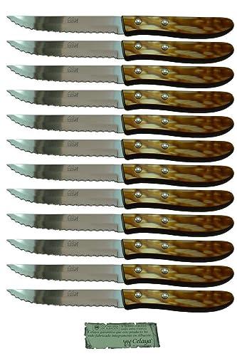 Cuchillos de mesa Celaya Plástico Nácar Marrón Sierra Lote 12 Uds ...