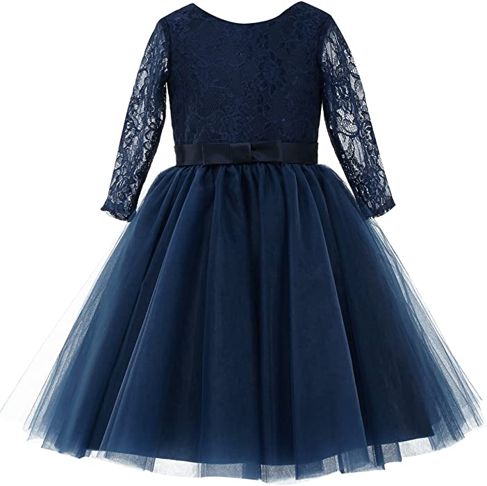 f6965a5d6 princhar Navy Long Sleeve Flower Girl Dress Toddler Wedding Party Dresses  US 2T Navy Blue