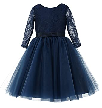 Amazon Princhar Navy Long Sleeve Flower Girl Dress Toddler