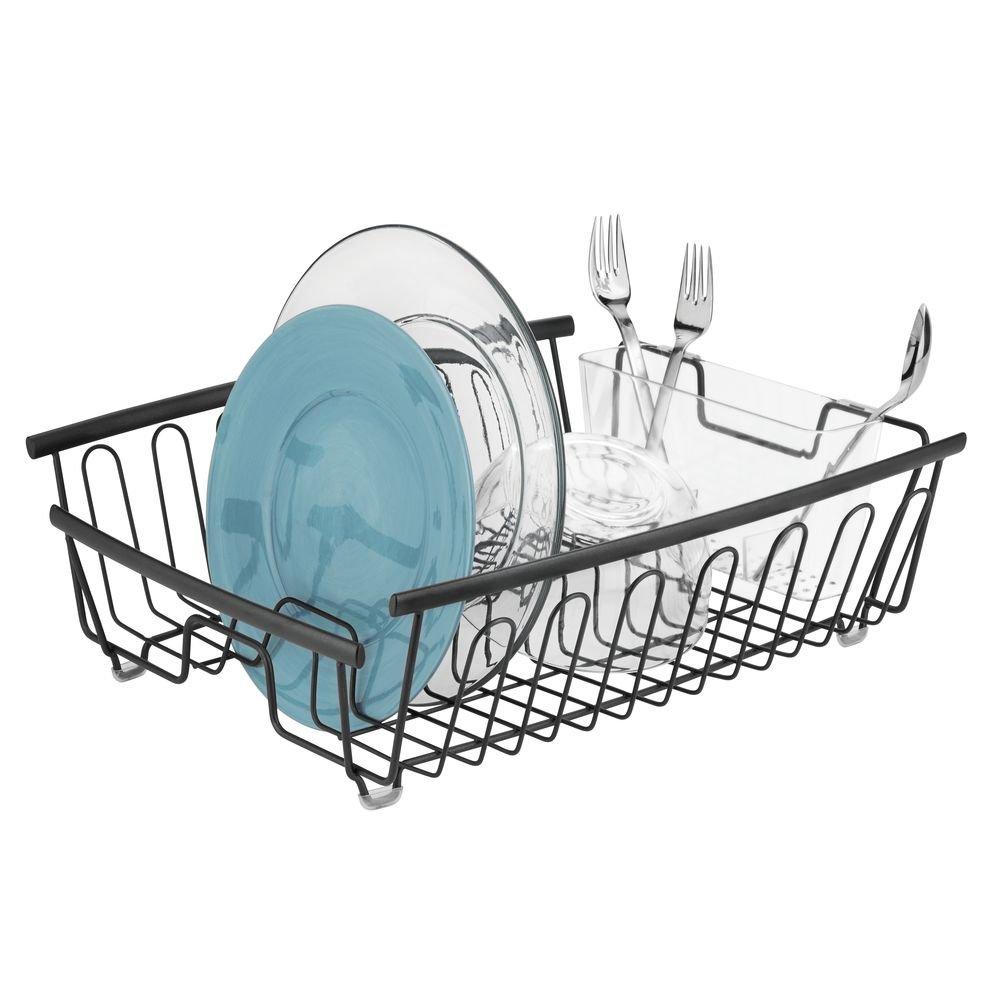 mDesign support /à vaisselle en m/étal panier /égouttoir inoxydable pour assiettes et plats noir-mat /égouttoir design avec porte-couverts /à 11 fentes pour la cuisine et le plan de travail