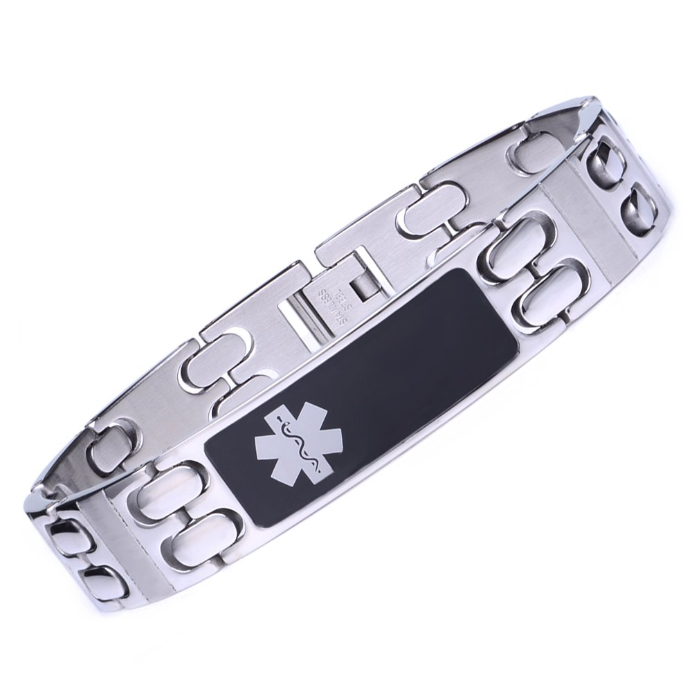 linnalove Warriors Stainless Steel Black Glass Tag Medical id Bracelet for Men-Free Engraving(8'')