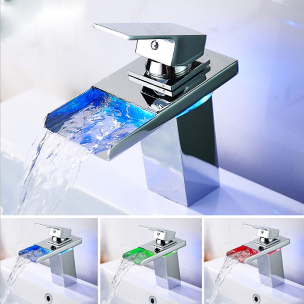 YYBFG Stylish Single Handle Nickel Brushed LED Waterfall Bathroom Sink Faucet LED Colors Changing Tap Temperature Control Light