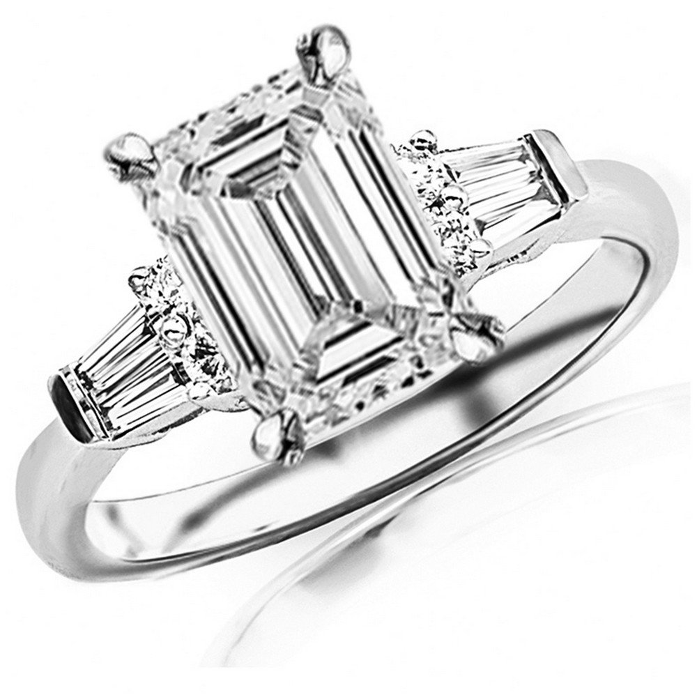 0.85 Ctw 14K White Gold GIA Certified Emerald Cut Prong Set Round And Baguette Diamond Engagement Ring , 0.5 Ct I-J VS1-VS2 Center