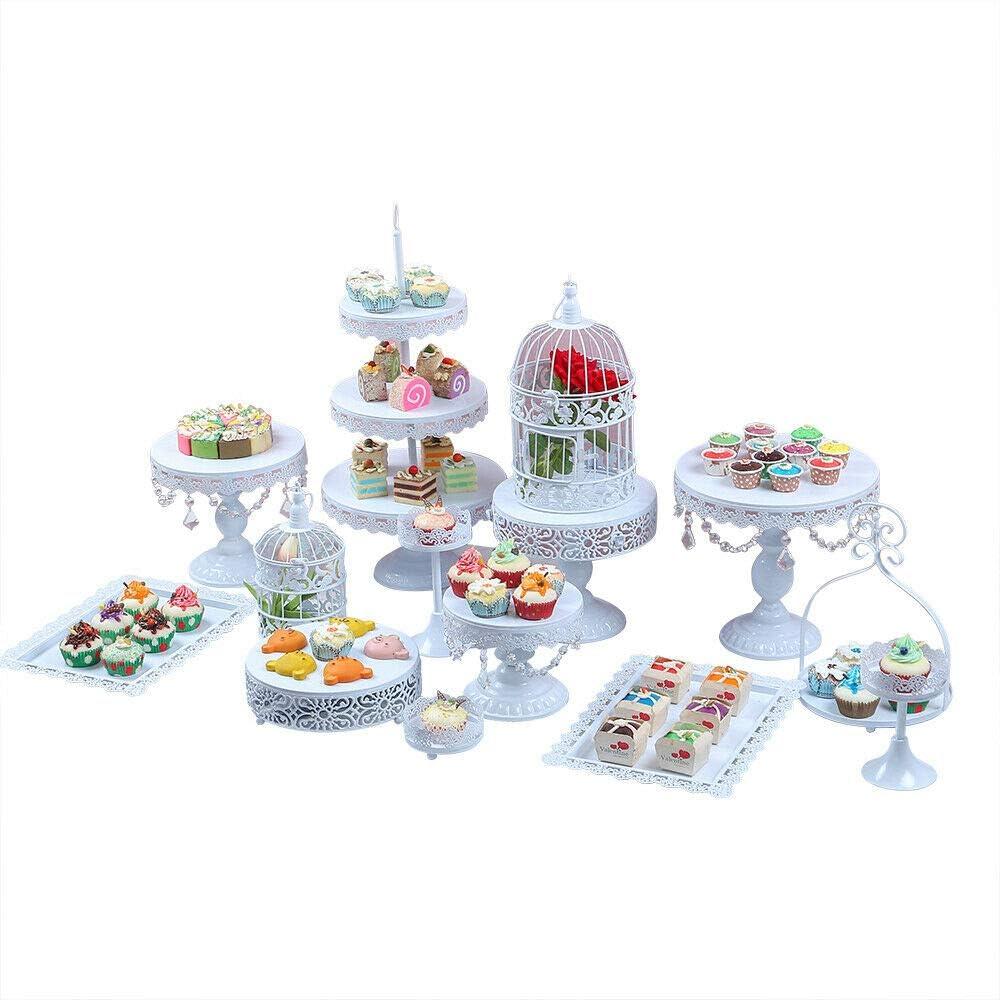 B07HJV1Q2C Cupcake Stands, 14 Set Metal Crystal Cake Holder Cupcake Stand Cake Dessert Holder with Pendants and Beads,Wedding Birthday Dessert Cupcake Pedestal Display, White USA STOCK 61mMgb7KN%2BL