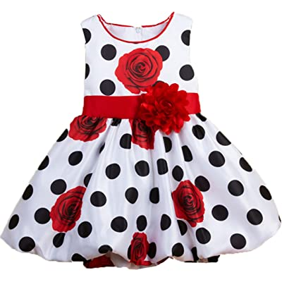 Shiny Toddler Polka Dot Flowers Girl Brithday Party Dress Red 18M
