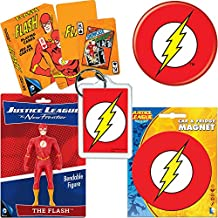 PopShoppes The Flash Justice League PopBox Deluxe Set (Bendable Figure, Playing Cards, Magnet, Button and Acrylic Keychain) Cool Value!