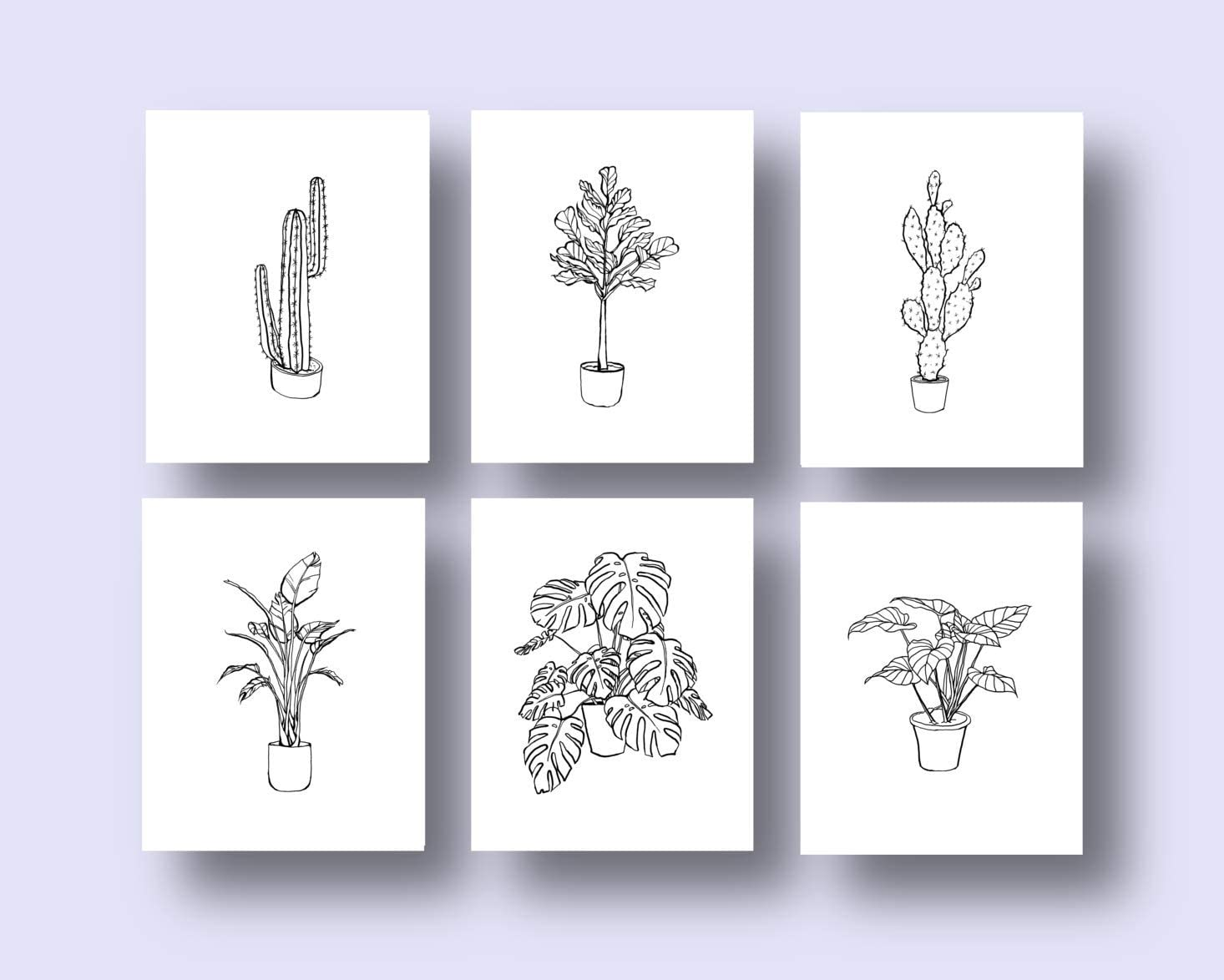 Ink Inc. Tropical Plants Botanical Prints Minimalist Modern Abstract Line Drawings Wall Art Minimal Black and White Home Decor - Set of 6-8x10 - Matte - Unframed