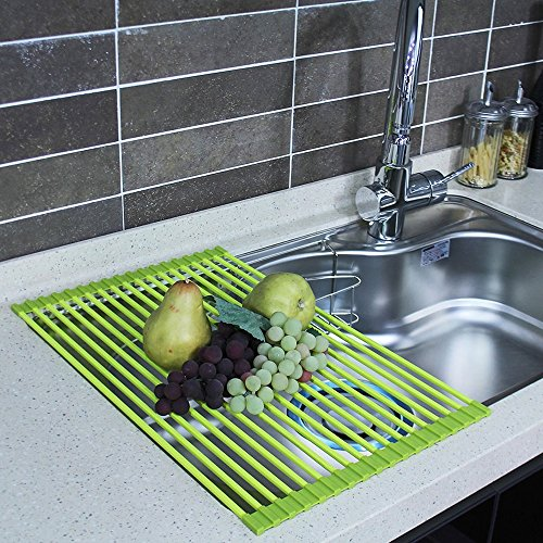 "HOME&CO Large 20.5""x13"" Over the Sink Dish Drying Rack Silic"