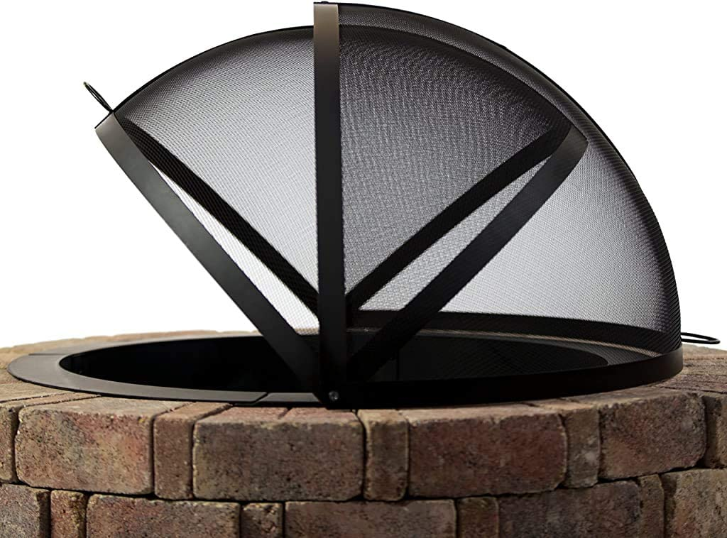 Hampton's Buzaar 36 Inch Fire Pit Easy Access Spark Screen – Best Some-Shaped spark screen