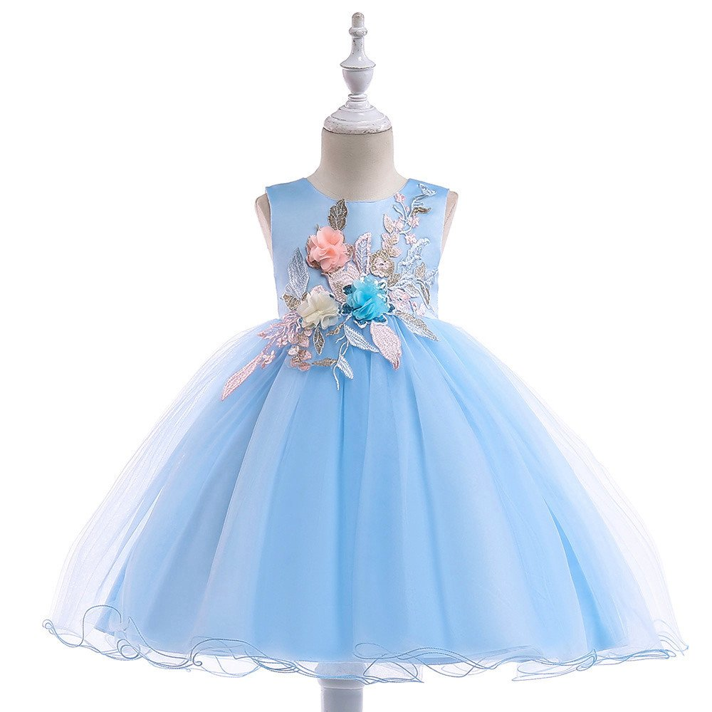 SUNBIBE Kids Baby Girls Dress Tulle Lace Floral Princess Party Sleeveless Dresses Pageant Formal Gown for 18M-6Y