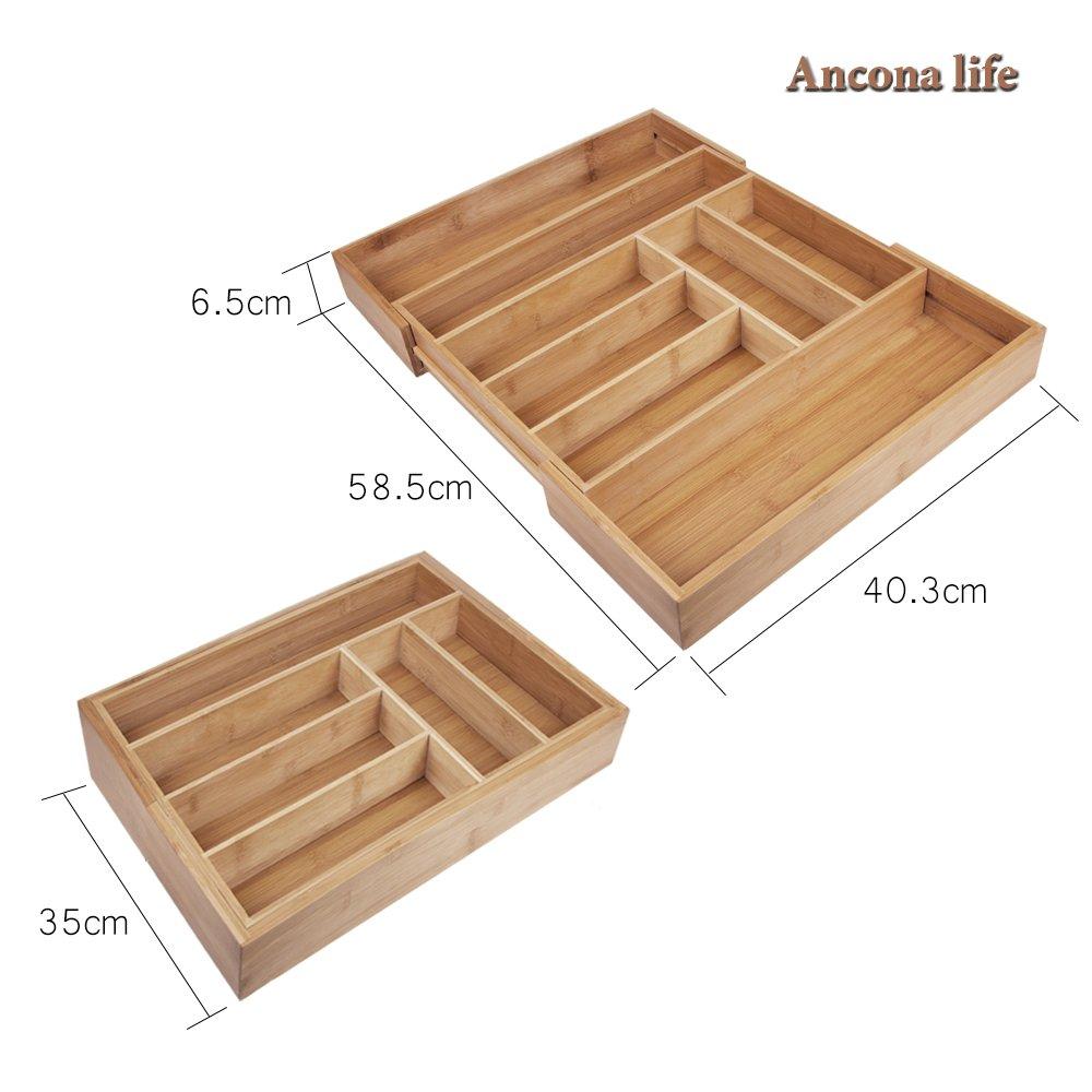 Anconalife Besteckkasten aus Bambus ausziehbarer Besteckeinsatz als Küchenorganizer und Schubladeneinsatz Große Besteckeinlage mit 6 bis 8 Fächern Organizer aus Holz Natur
