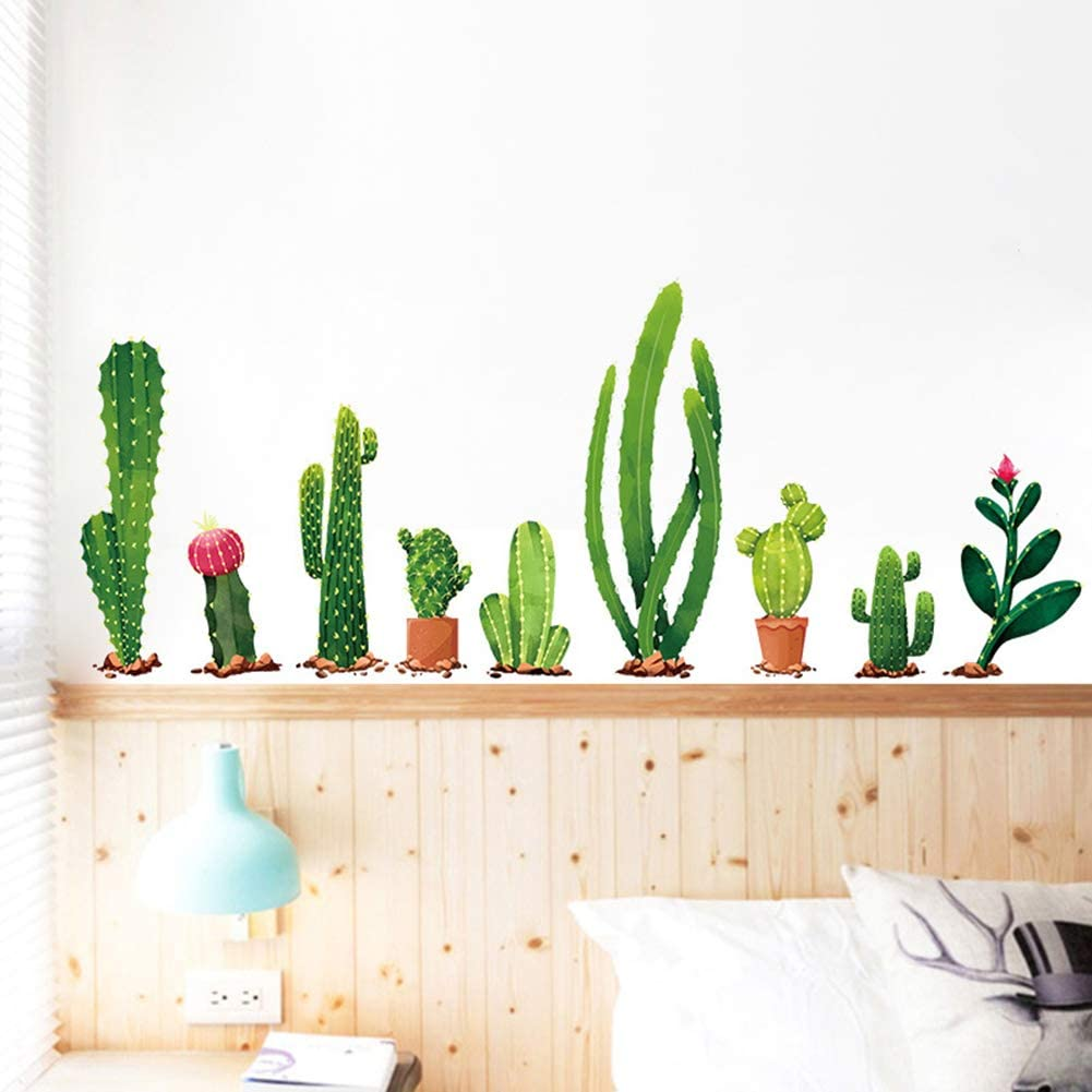 Bonsai Flower TANOSAN Nature Green Plants Wall Sticker,Bonsai Flower Butterfly Cactus DIY Mural Art Decoration for Living Room Bedroom Kitchen Nursery Home Green Potted Plant Wall Decal