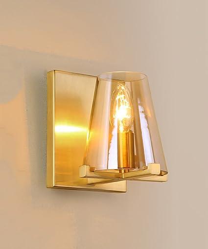 Applique Interamente In Rame Minimalista Vintage Camera Da Letto Comodino Soggiorno Corridoio Corridoio Bagno Sfondo Lampada Da Parete 13 Cm 17 Cm Amazon It Illuminazione