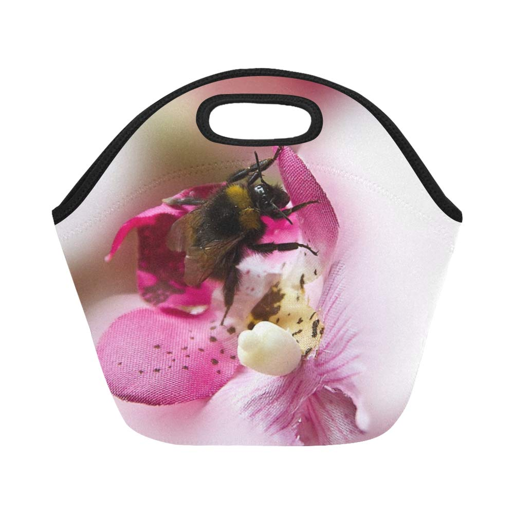 Insulated Neoprene Lunch Bag Hummel Insect Art Flower Decoration Red Flowers 610460 Large Size Reusable Thermal Thick Lunch Tote Bags For Lunch Boxes For Outdoors,work, Office, School