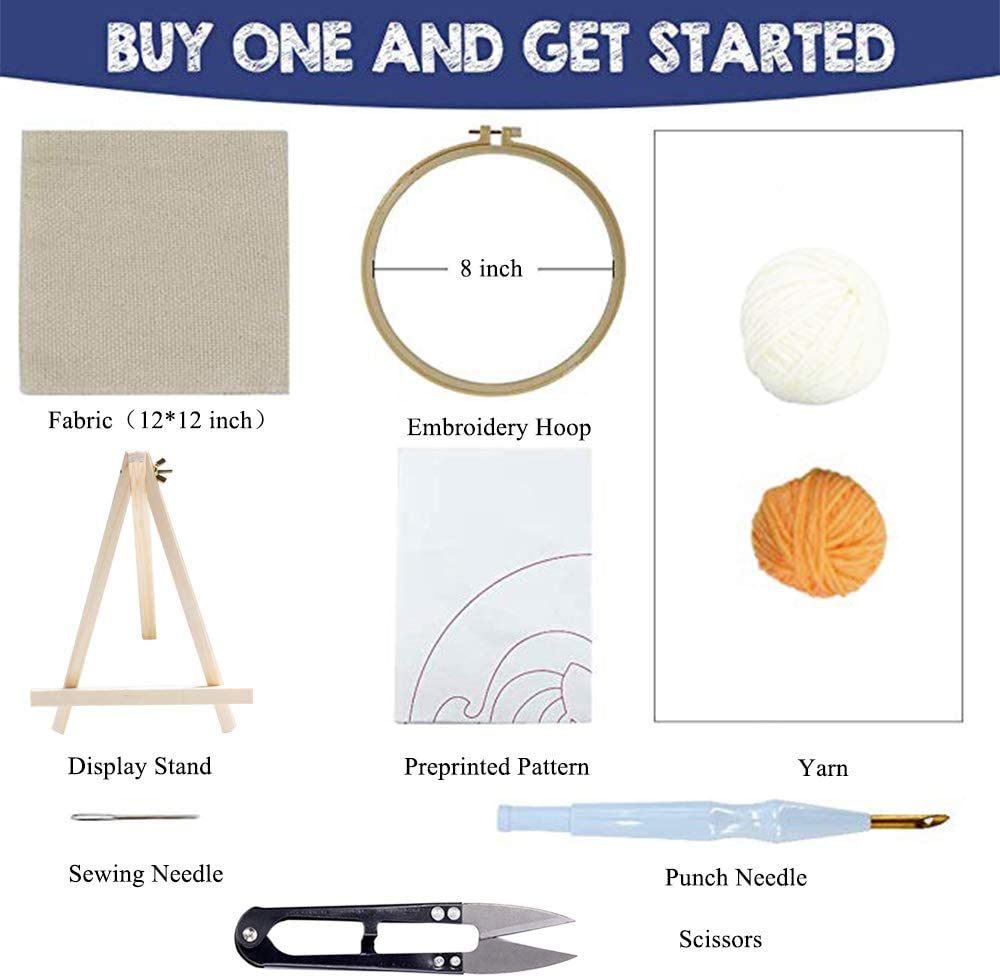 Beginner Hook Kits with Display Stand Embroidery Pen and Hoop Rug-Punch Hooking Knitting Kit 8 x 8 Inch Stosts Fox Punch Needle Embroidery Kit