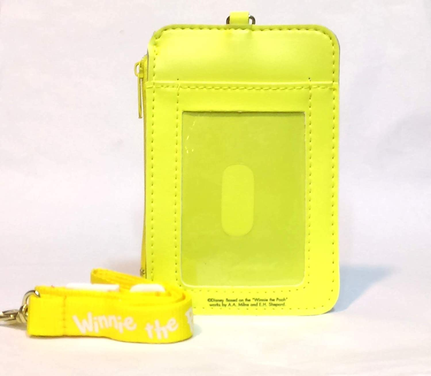 Winnie The Pooh Vertical Pass Case with Zipper Pocket ID Credit Card Badge Holder Lanyard Pouch
