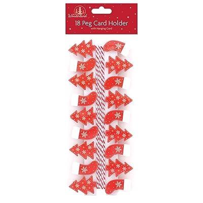giftmaker collection Juego de 24 pinzas para tarjetas de Navidad metálicas, 3 m, color plateado: Hogar