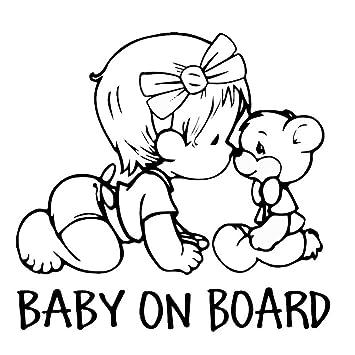 Erospa Auto Aufkleber Kfz Baby On Board Mädchen Mit Teddy Car Sticker Schwarz Baby