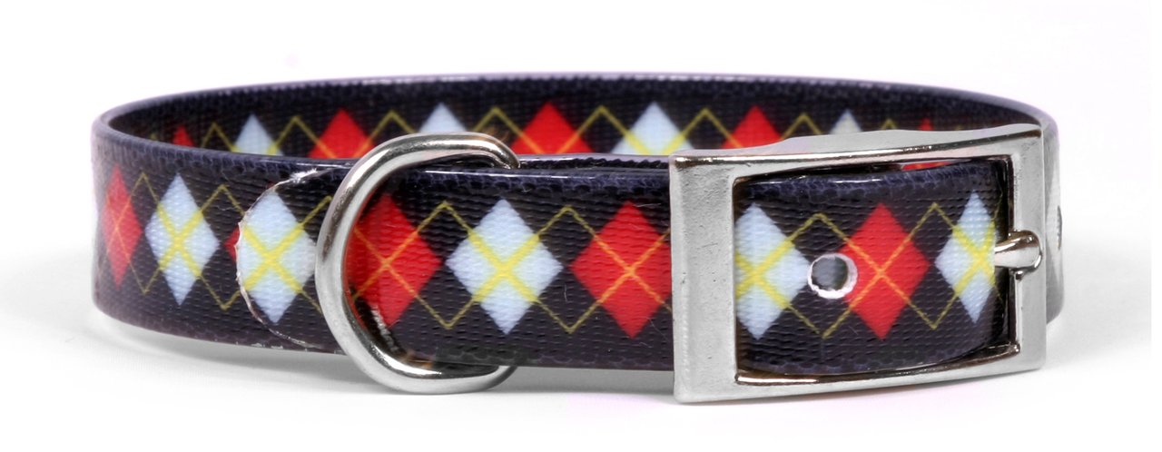 Yellow Dog Design Red Argyle Elements Dog Collar, X-Large-1'' Wide and fits Neck Sizes 20.5 to 24'' by Yellow Dog Design