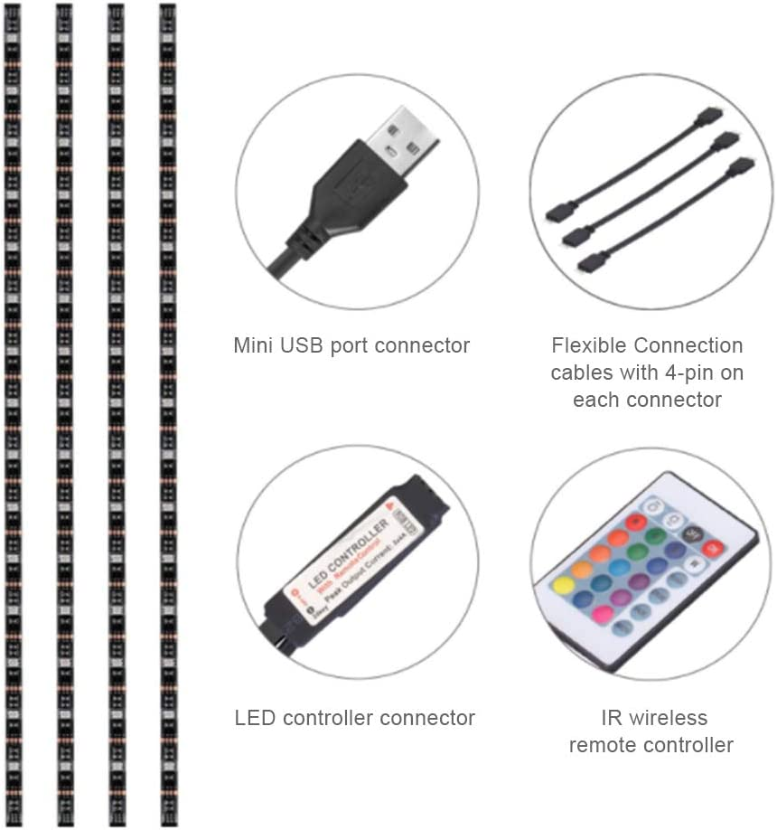 LED TV Lighting 6.56 pies para 40 a 60 HDTV USB LED TV Iluminaci/ón con Control Remoto de 24 Teclas Hihey Tira LED con retroiluminaci/ón TV Tira LED RGB de 2M