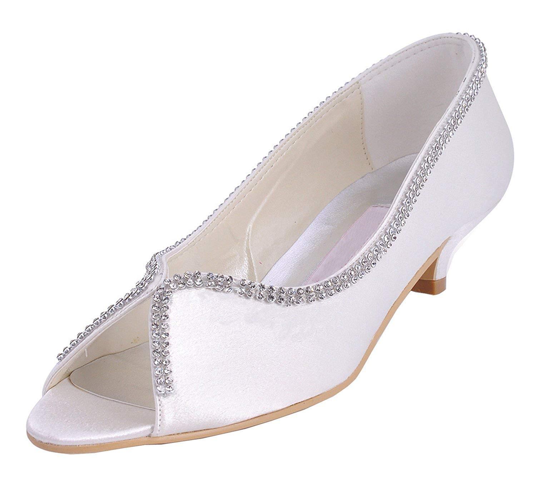 ZHRUI Femmes Femmes Femmes MZ536 Chaton Talon Satin De Mariage Soirée Sandales De Soirée De Bal (Couleuré   Ivory-5cm Heel, Taille   7.5 UK) 663