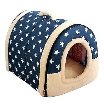 SOWLFE ANPI 2 en 1 casa de Mascotas y sofá, Cama Antideslizante para Perro o Gato, Cama Plegable de Invierno Suave y Acogedor, colchón Desmontable: ...