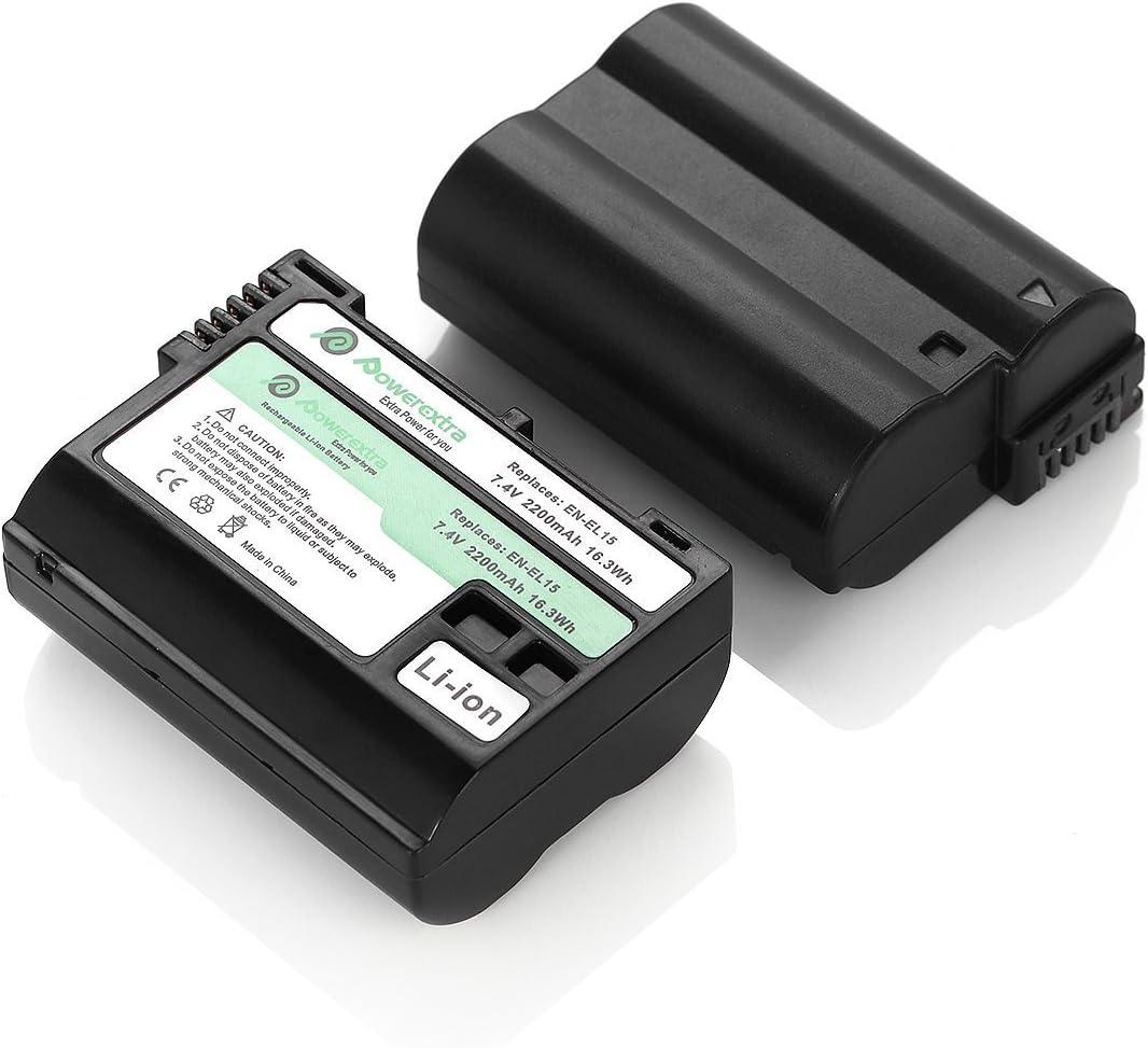 Powerextra Batería Nikon EN-EL15 de Repuesto 2 Paquetes para Cámaras Nikon ENEL15 MH-25 MH-25a y Nikon D7100 D750 D7000 D7200 D810 D610 D800 D600 D500 D800E D810A 1v1 Cámara