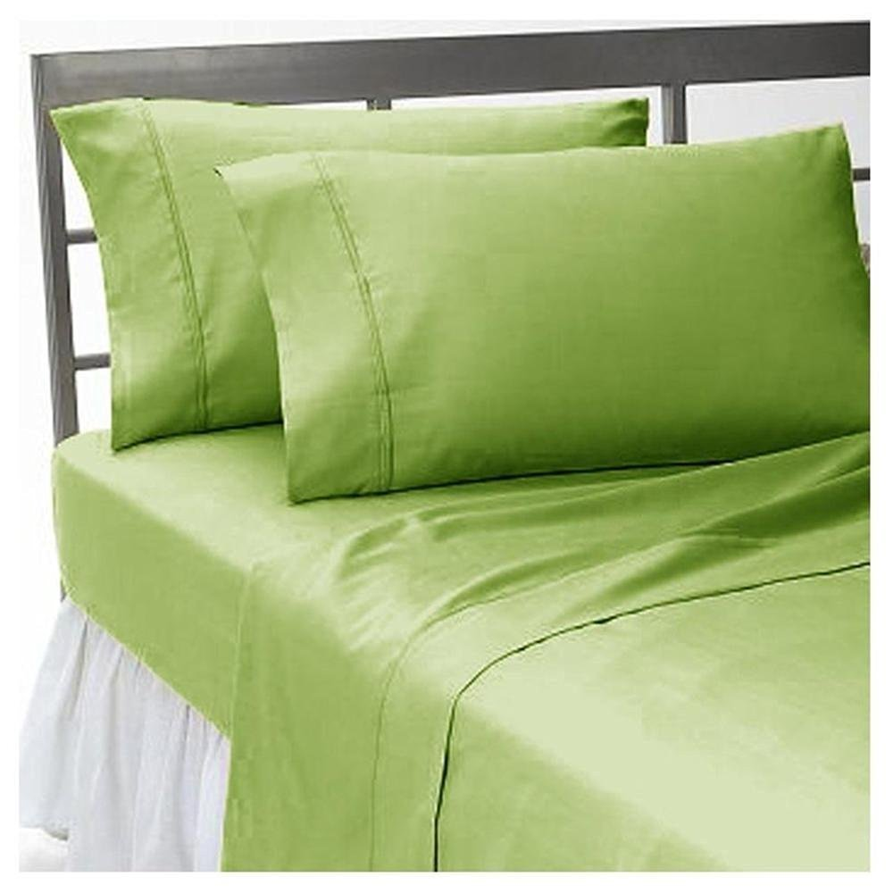 Sage Solid (48''X75'') Three Quarter Size Ultra Soft Natural 4 PCs Bed Sheet Set 16'' Deep Elastic All Round 100% Cotton 400-Thread-Count Extremely Stronger Durable By Aashi