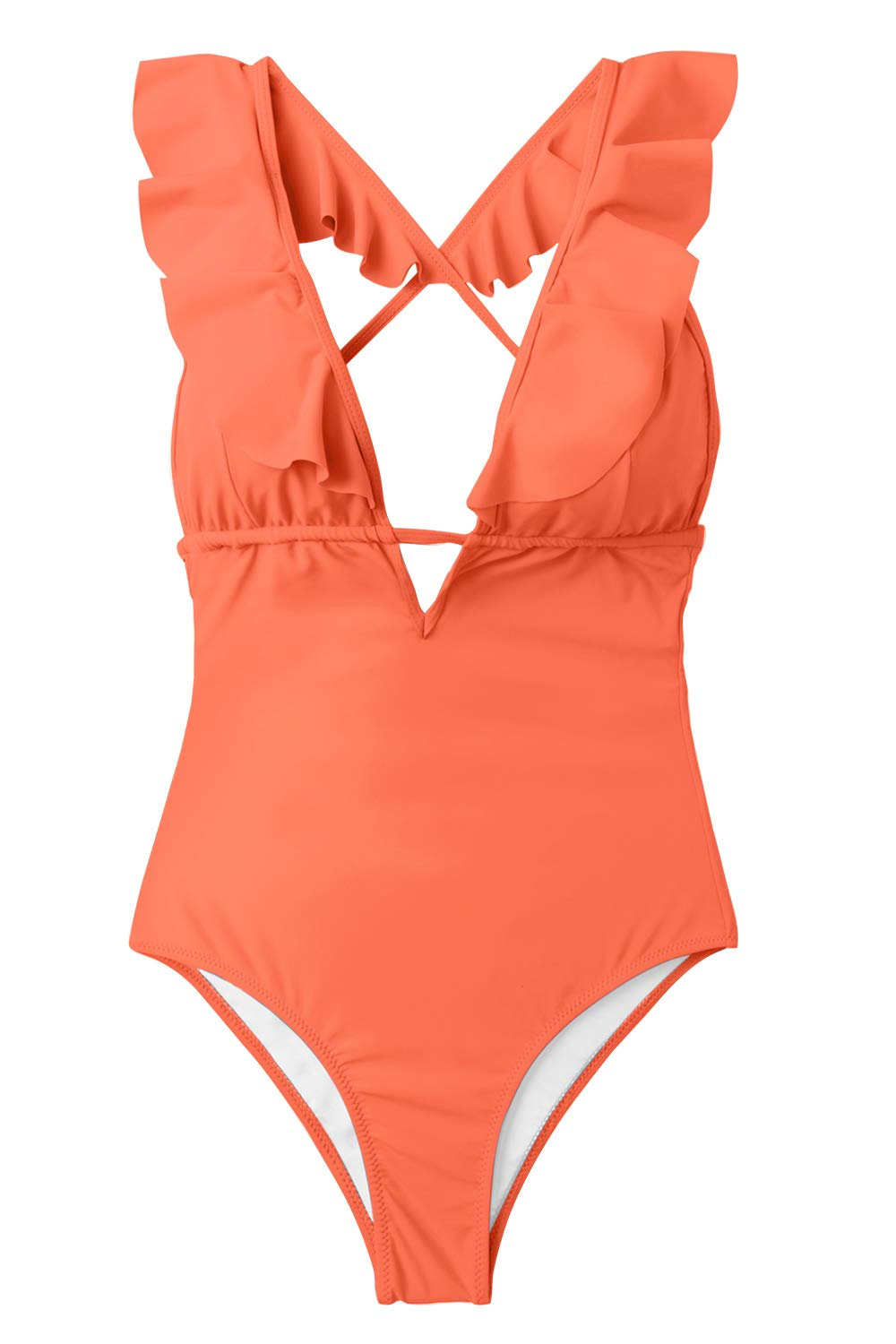 CUPSHE Women's Falbala One Piece Swimsuit Deep V Neck Monokini Swimsuit, Orange, Small