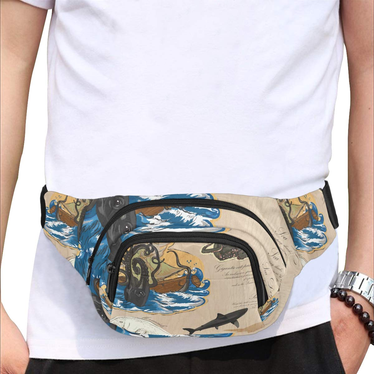 Pirate Fantasy Island Map Fenny Packs Waist Bags Adjustable Belt Waterproof Nylon Travel Running Sport Vacation Party For Men Women Boys Girls Kids