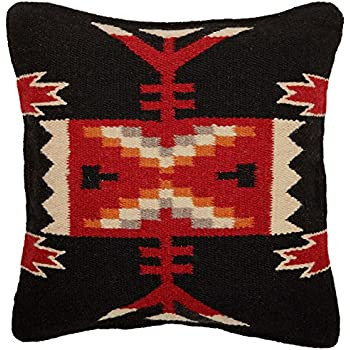 El Paso Designs Throw Pillow Covers 18 X 18, Hand Woven Wool in Southwest, Mexican, and Native American Styles. Hand Crafted Western Decorative Pillow Cases in Wool. (Fire Dancer 9)