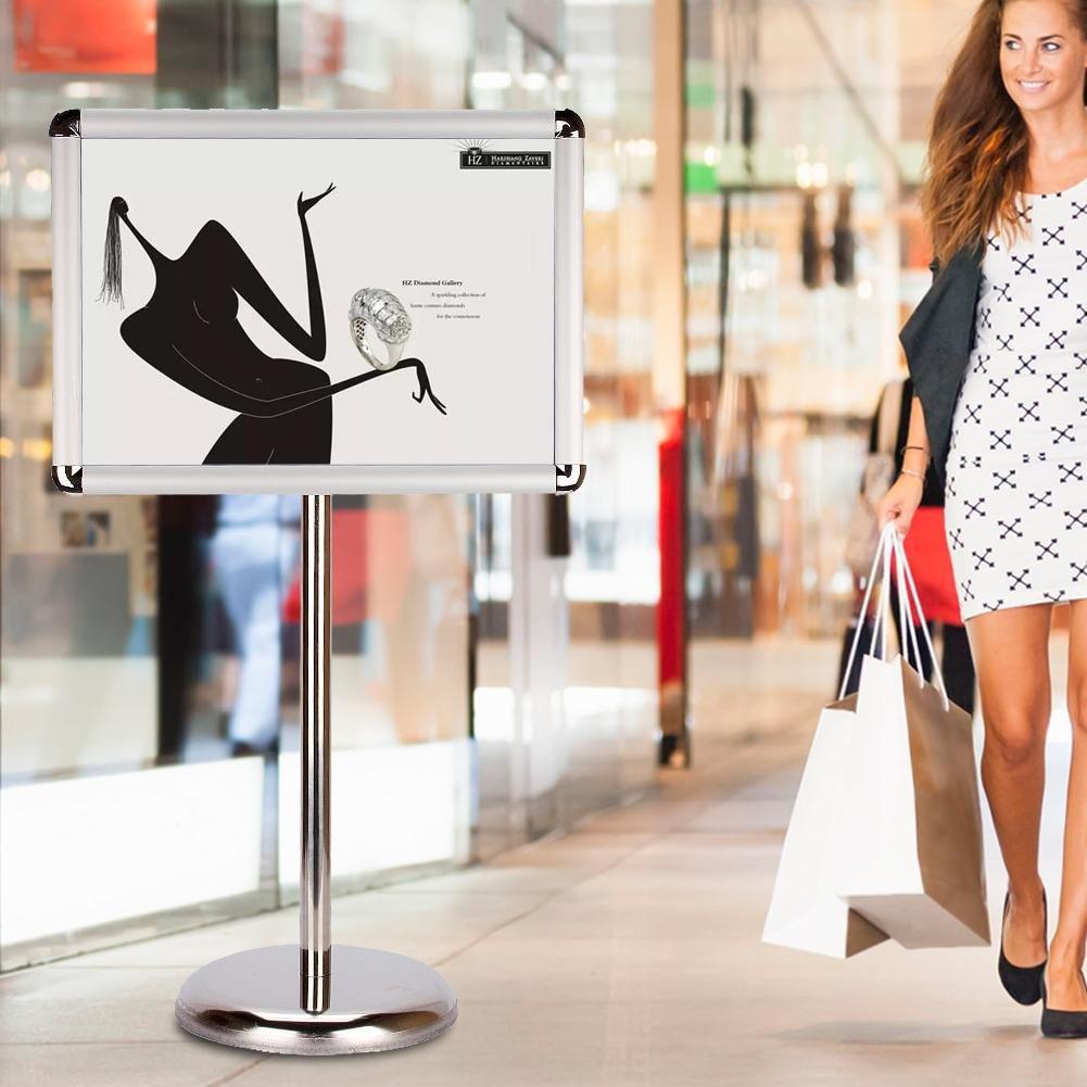 A3 / A4 Stand Poster da terra, supporto per postazione di visualizzazione Supporto per insegna Menu da pavimento Stand pubblicitario Stand con altezza regolabile (A3 Smusso) Zerone