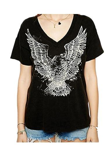 Fanessy Mujer Camiseta T Shirt Mujer Verano T-Shirt de Color Sólido Suelto T Shirt Mujer Camiseta Mujer Verano Camiseta Manga Corta Ocasional Negro