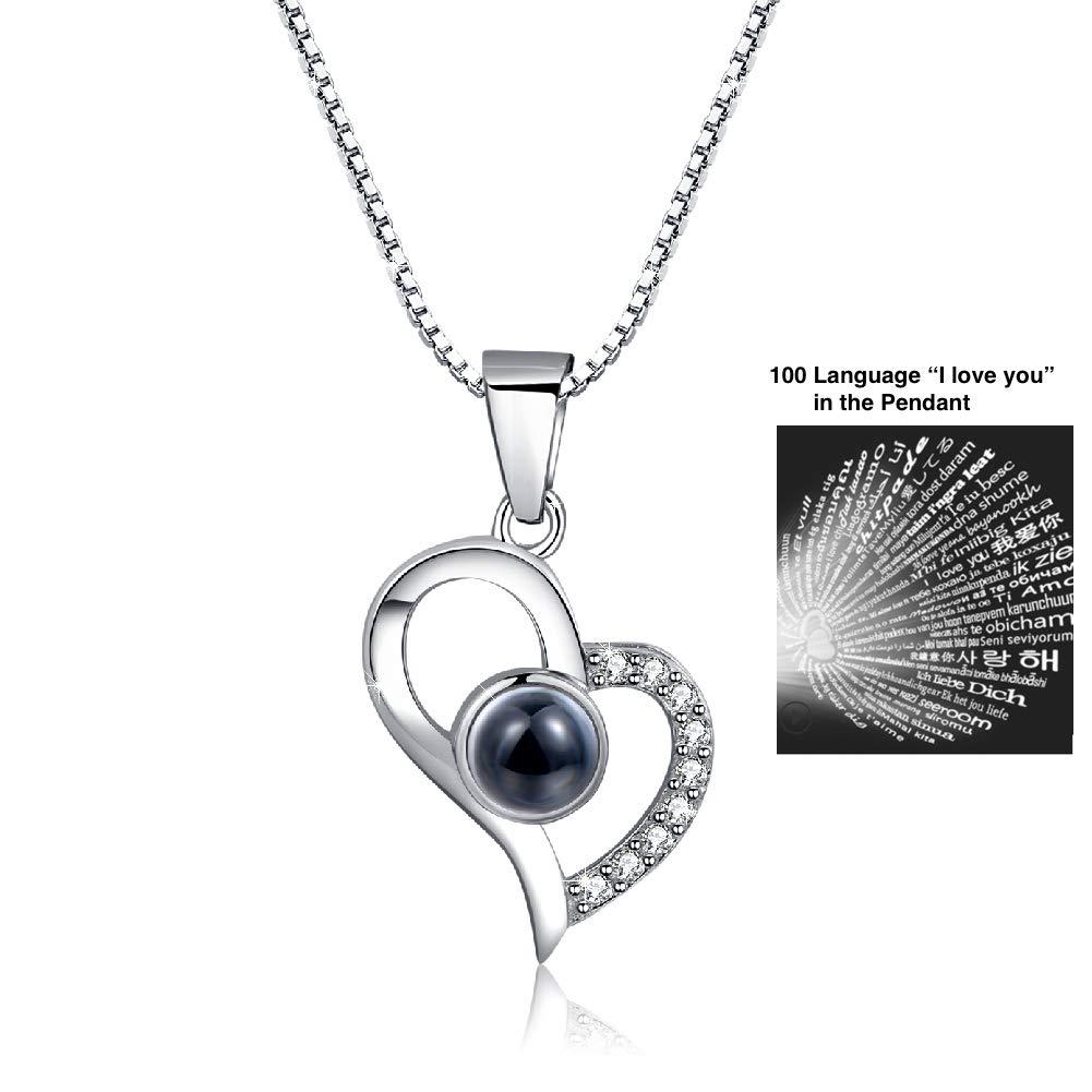 OneSight Femme Amour Cœur Pendentif Collier de Boucles d'oreilles, Argent Sterling Ensemble de Bijoux Cadeau pour Elle