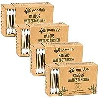 pandoo Set van 4 bamboe wattenstaafjes met grote veiligheidskop (220 stuks), biologisch afbreekbaar, veganistisch…
