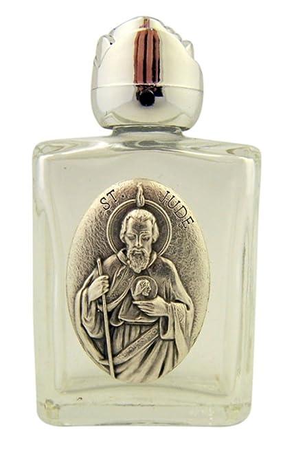Botella de cristal de agua bendita con tono de plata Saint Jude Medalla y Rosebud tapa